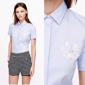 J Crew Collection Beaded Crest Oxford